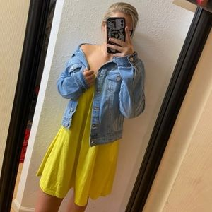 Yellow ASOS off the shoulder dress